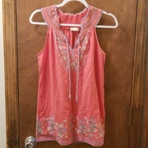 Miss Me Embroidered Sleeveless Tunic